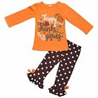 Girls Happy Thanksgiving Orange and Brown Fall Boutique Outfit 2t 3t 4t 5 6 7