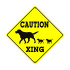 Caution Xing with Dog  Puppies Crossing Graphic Animal Aluminum Novelty Sign