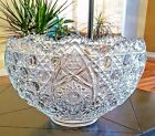 Button Punch Bowl Sparkling Crystal Clear Vintage w/Ladle