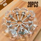 20PCS Diamond Crystal Glass Clear Handle Door Cabinet Drawer Knobs 30mm Set A