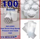 WHOLESALE 100x Empty White Pill Bottle Tablet Capsule Container Jar 75cc ml+SEAL
