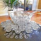24 Pc Glass Punch Bowl Set Arlington Sparkling Crystal Clear Vintage USA