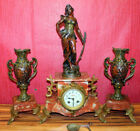 Antique triptych 19th century French mantel clocksigSMarti par Aug Monreau