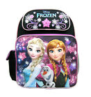 Disney Frozen Anna  Elsa Girls 14 Canvas Black  Pink School Backpack