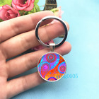 Red Paisley Art Photo Tibet Silver Key Ring Glass Cabochon Keychains 369