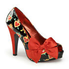 Pin Up Couture BETTIE 13 Womens Black Patent Red Satin Sacred Hearts Heel Pumps