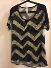 LuLaRoe Classic T Large Black  Cream Chevron With Floral Overlay NWT