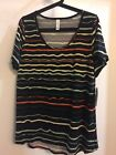 LuLaRoe Classic T Xtra Large Black Orange Yellow  Blue Stripes NWT