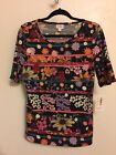 LuLaRoe Gigi Large Black Pink Purple Orange Floral Design  Stripes NWT