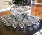 28 Pc Glass Punch Bowl Set Gibson Crystal Clear Vintage Cups Ladle Hooks Ex Cond
