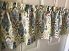 Ikat Like Green Blue And Tan Patterned Curtain Valance