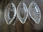 Three (3)  Vintage Ice Cream Banana Split Boat Dish Heavy Embossed Glass  9