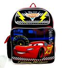 Disney Pixar Cars Boys 14 Canvas Black  Red School Backpack Lightning McQueen