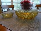 Vintage Amber gold Glass Chip and Dip Bowl Set stars cameo Beautiful Set (6)