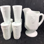 Vintage Indiana Milk Glass Colony Harvest Grapes Footed Pitcher