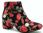 Wenona 02 Embroidered Stitched Floral Low Block Heel Ankle Boots Black Red
