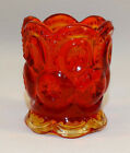 VINTAGE LE SMITH GLASS AMBERINA MOON AND STARS TOOTHPICK HOLDER