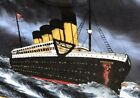 TITANIC PAINTING REVERSE PAINTING ON GLASS w MIXED MEDIA  MARITIME FRAME VTG