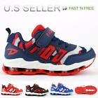 Kids Boy Athletic Sneakers Shoes Walking Running Tennis Mesh Upper Strap Lace Up