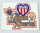 Vtg Knights of Columbus K of C The Knights love America Travel Decal Sticker