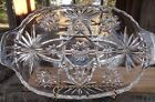 Vintage Early American Prescut glass RELISH Dish divided handles Star of David