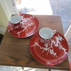 2 Fitz & Floyd Snack Luncheon Sets Prunier De Chine Red (Negative)  FF Japan