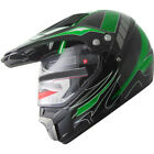 ATV Dual Sports Motocross Offroad Dirt Bike Helmet Green Black A84 W visor