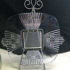 Vintage Art Deco Pressed Clear Glass Footed Square Luncheon Plate w Handles Tabs
