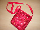 Sm RED Sequins Cloth Velcro Closure Bead Evening Shoulder Cross body Bag Purse
