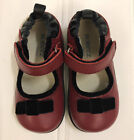 ROBEEZ by Stride Rite Tredz Red Black Leather Mary Jane Shoes Velvet Bows