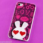 S Colorful Love Rabbit Back Skin Hard Cover Case for Apple i-phone 4 4S 4G G S