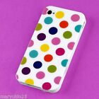 S White Colorful Dots Back Skin Hard Cover Case for Apple i-phone 4 4S 4G G S