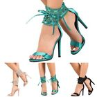 Elegance prom wedding Open Toe Satin Lace Stiletto High Heels Size 55 11 H192
