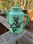 JAPANESE ASIAN TEA POT 6 Glasses GREEN Cherry Blossom Pattern Extremely Rare