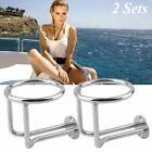 2 X Boat Ring Cup Holder Stainless Steel Ringlike Drink For Marine Yacht Ship AS