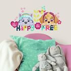PAW PATROL GIRL PUPS SKYE EVEREST Wall Decals BE HAPPY QUOTE Room Decor Sticker