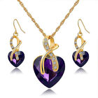 Violet Heart Crystal Necklece Earing Jewellery Collection Set Wedding Accessorie