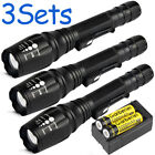 3PC Tactical 15000Lumen T6 5Mode 18650 LED Flashlight Zoomable Military Torch US
