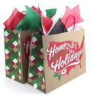 5x Large Gift Bags Kraft Paper 16 x 12 x 6 inch Home for the Holidays Christmas