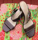 CATO HEELED SANDALS SIZE 7M ALL MAN MADE BROWN CROC LOOK STRAPS BACKLESS