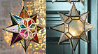 Large star glass hanging lantern Moroccan style clear or coloured NEW