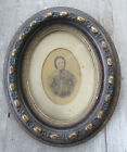 Old Antique Victorian OVAL Gesso Ornate Wood Picture Frame +Old Photo 10 x 12