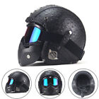 PU Leather Harley Motorcycle Helmets 3 4 Motorcycle Chopper Bike Helmet Black