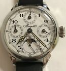 BREGUET WINDING MOONPHASE FULLCALENDAR POCKETWATCH MOVEMENT STAINLESS STEEL CASE