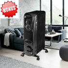 2017 Electric Oil Filled Radiator 1500W Room Space Heater Thermostat Radiant New