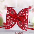 12PCS Red Invitation Card Custom Printing Party Wedding Lace Ribbon Personalized