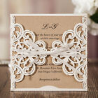 CW6175W Classic White Laser Flowers White Ribbon Wedding Invitations Cards