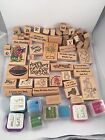 Lot of 26 Retired Stampin Up Rubber Stamps Inkadinkado Crafts Pre owned