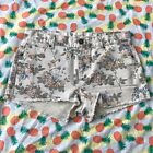 NWOT Blu Pepper Vintage Jean Shorts Medium M Cream Floral Print Frayed Cut Offs
