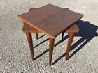 Pair Vintage 1960s Mid Century Modern Nesting Stack Tables Formica Laminate Tops